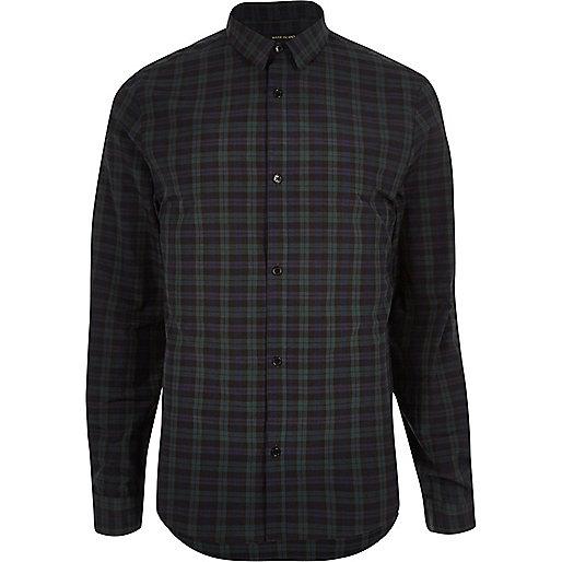 Dark green casual check slim shirt