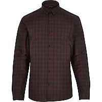 Burgundy check slim shirt