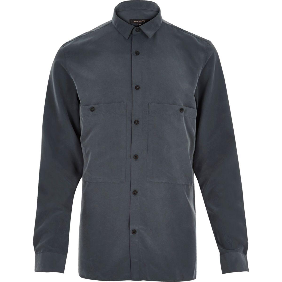 Navy slinky minimal shirt