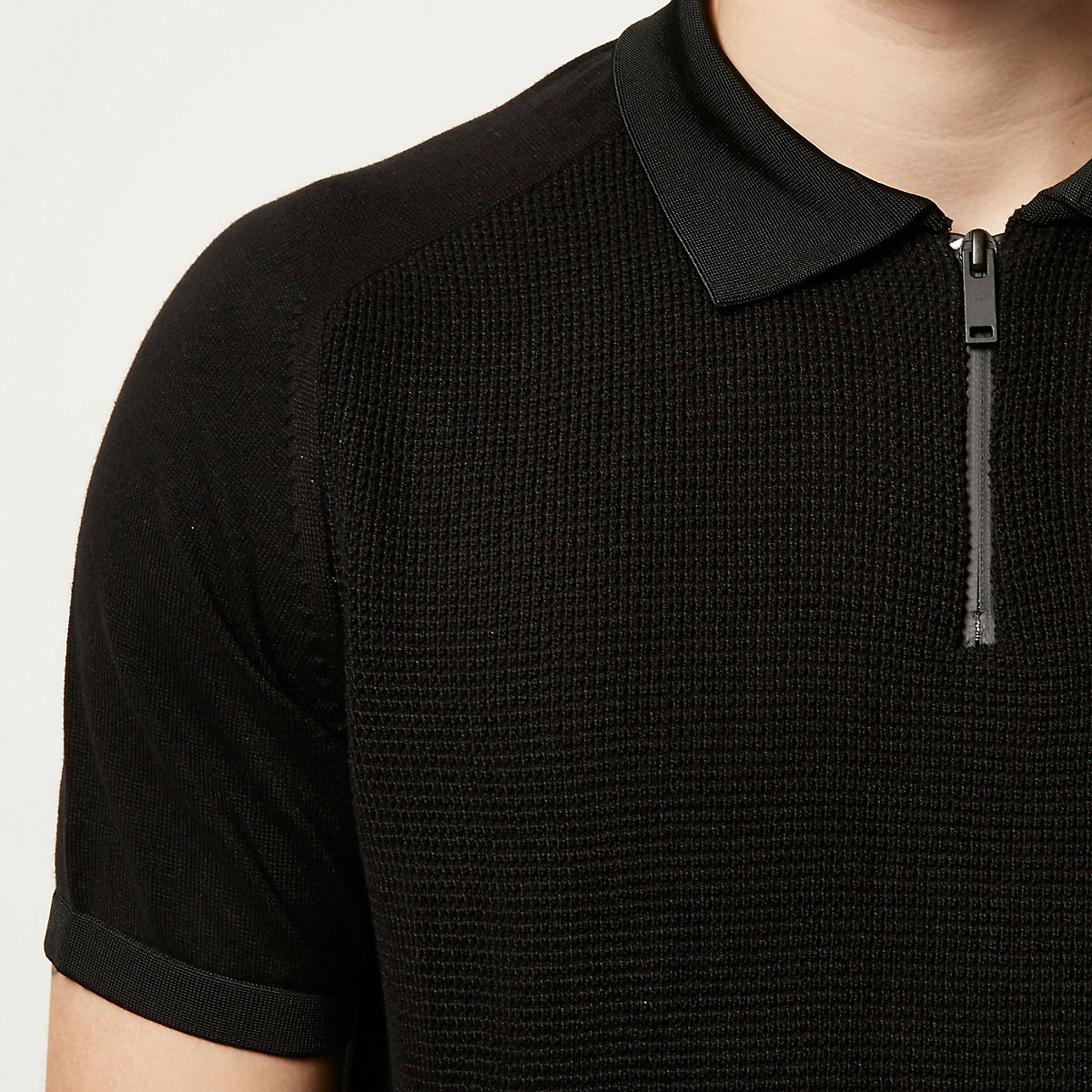 Black textured zip neck polo shirt