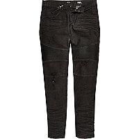 Black biker lanyard Sid skinny stretch jeans