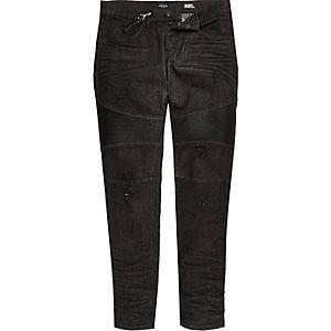 Sid – Skinny Stretch Biker-Jeans in Schwarz