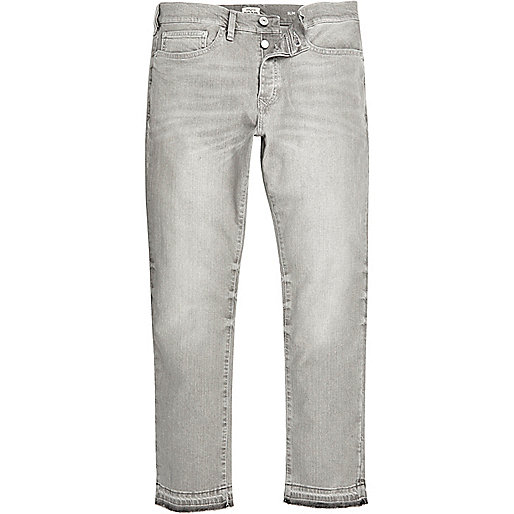 Grey Dylan slim raw hem jeans