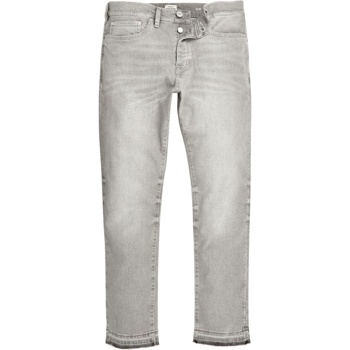 Grey Dylan slim raw hem jeans