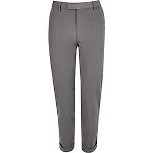 Light grey slim suit pants