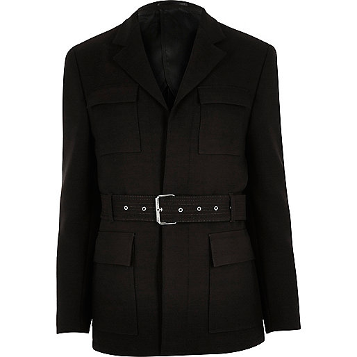 Dark brown slim belted jacket
