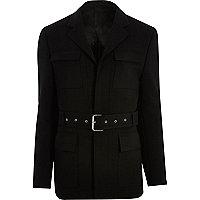 Black belted slim jacket