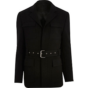 Black belted slim jacket