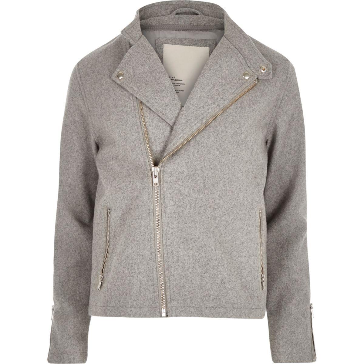 Grey RVLT wool-blend biker jacket