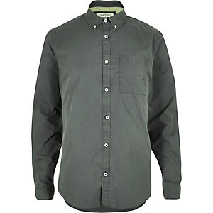 Khaki green twill long sleeve shirt