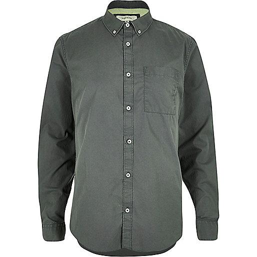 Khaki green twill long sleeve shirt