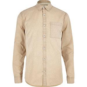 Beige overhemd met lange mouwen van keperstof