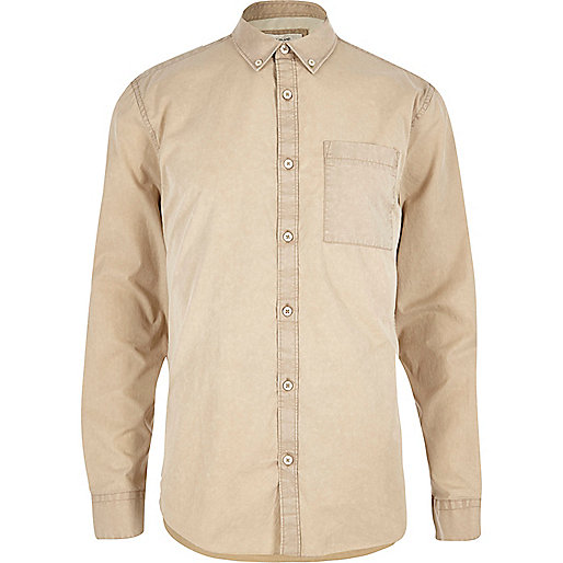 beige twill long sleeve shirt
