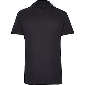 Dark blue waffle revere collar polo shirt