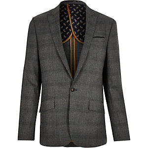 Grey Price of Wales check slim suit jacket