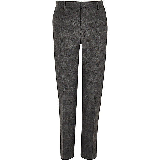 Grey Prince of Wales slim trousers