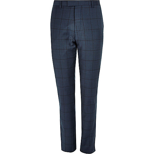 Blue window pane check slim suit trousers