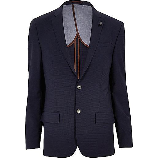 Blue gingham skinny suit jacket