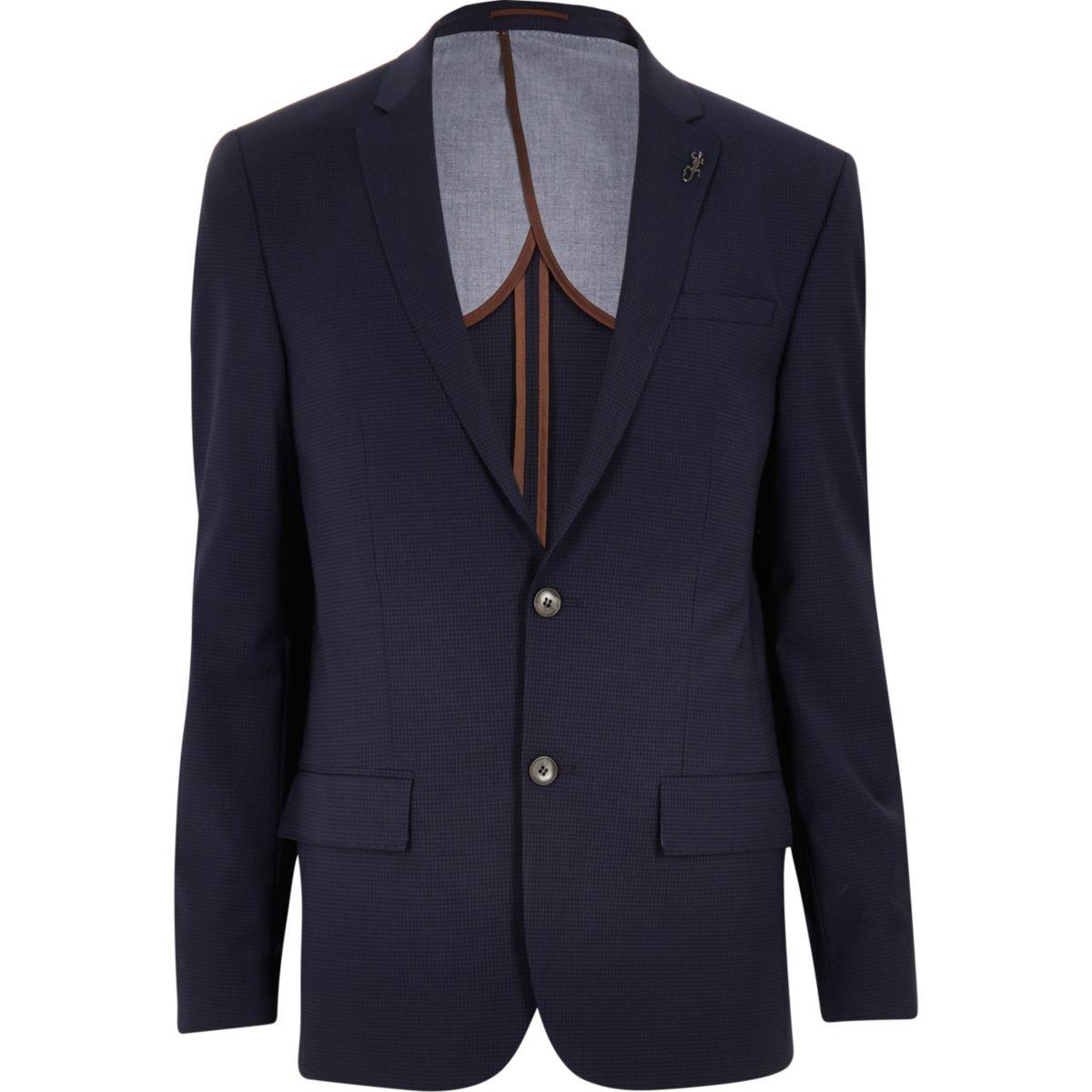 Veste de costume en vichy bleu coupe skinny