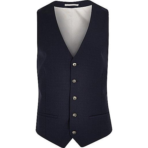 Blue gingham skinny waistcoat