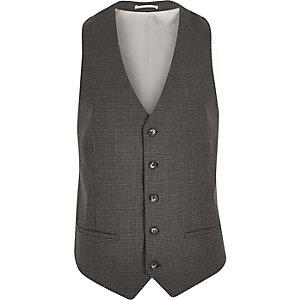 Grey gingham skinny waistcoat