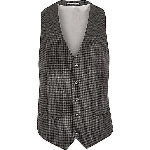 Grey gingham skinny vest