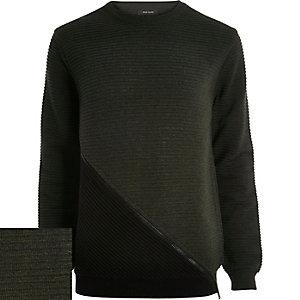 Dark green ribbed zip front sweatshirt
