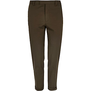 Dark green skinny fit suit trousers