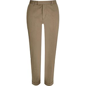 Ecru skinny suit pants