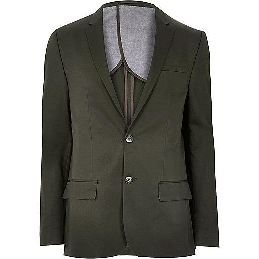 Olive green skinny fit suit blazer