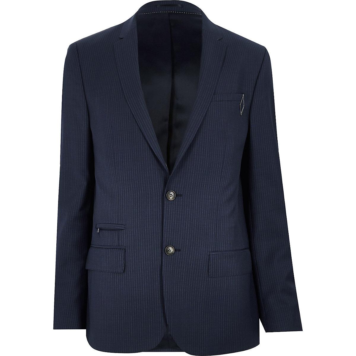 Blaue schmale Jacke mit Nadelstreifen