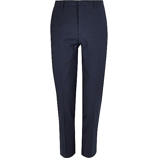 Blue pin stripe slim trousers