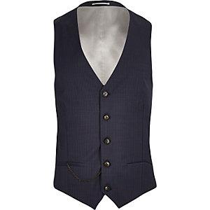 Blue wool-blend pin stripe slim waistcoat