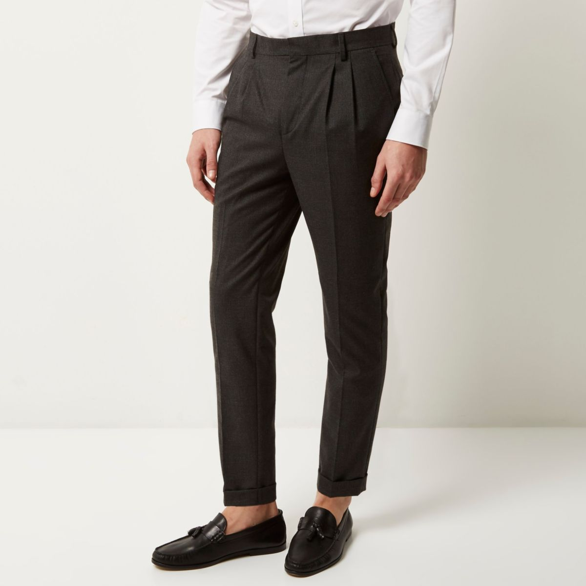 Grey smart Prince of Wales slim trousers