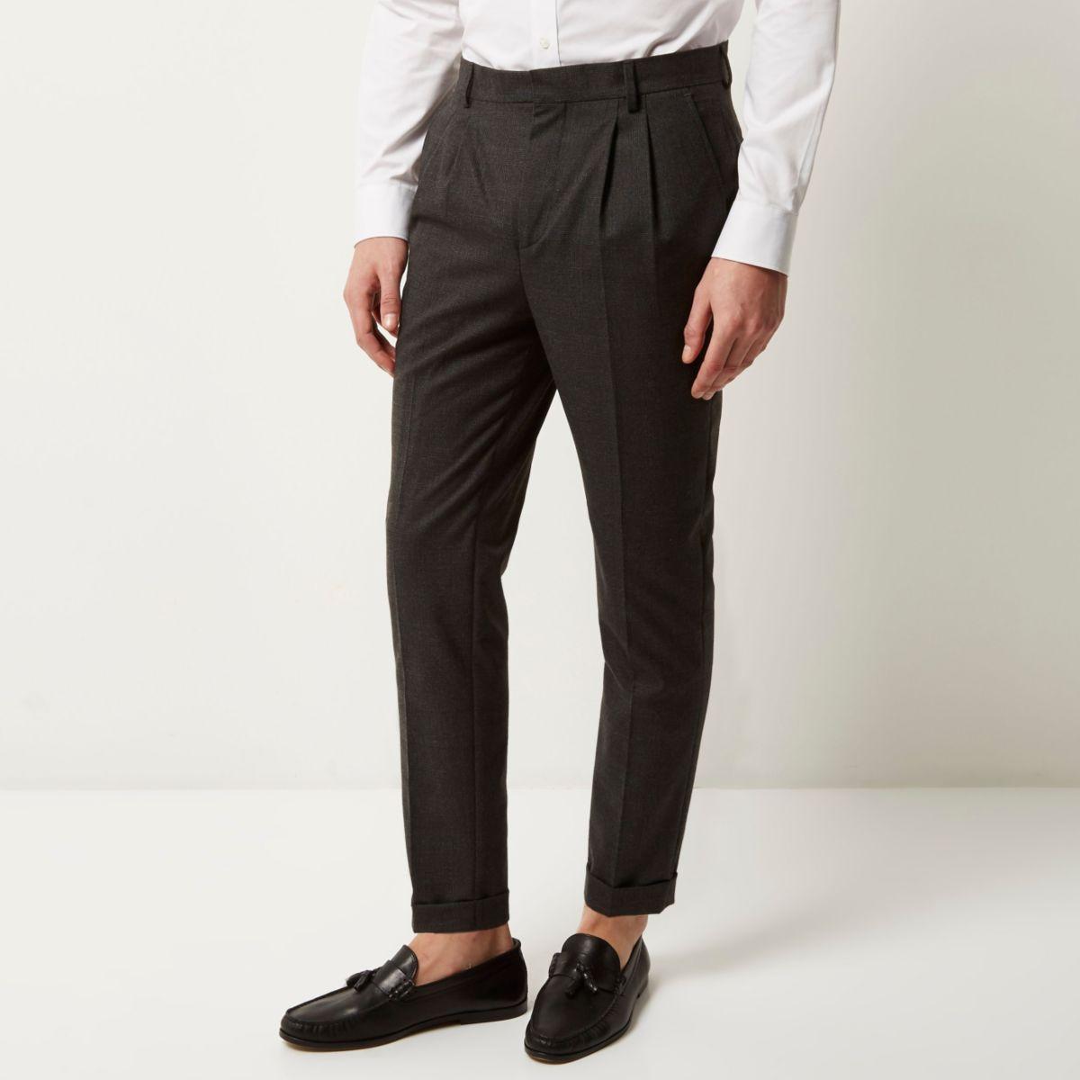Grey smart Prince of Wales slim pants