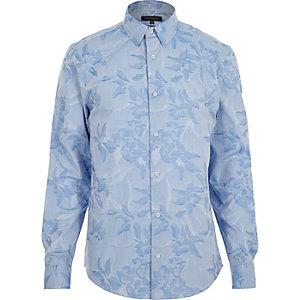 Blue jacquard slim fit shirt