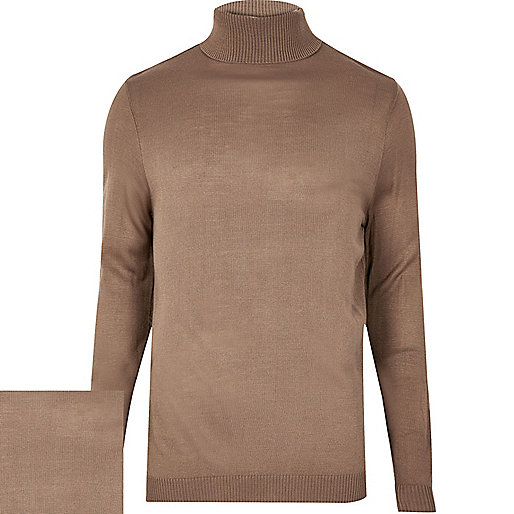 Light brown roll neck jumper