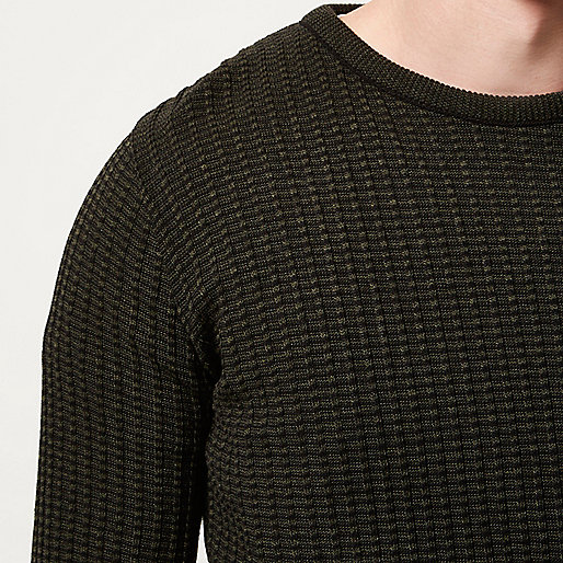 Green ribbed crew neck slim fit jumper