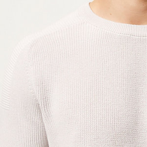 Grey textured knitted crew neck sweater