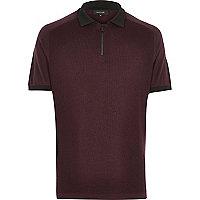 Dark purple zip neck polo shirt