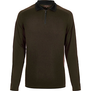 Dark green zip neck jumper