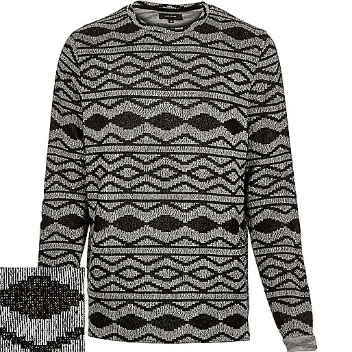 Black geometric sweater