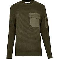Khaki military knitted jumper