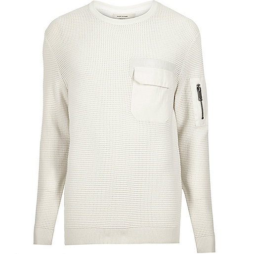 Cream knitted pocket front jumper