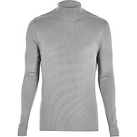 Grey ribbed roll neck jumper