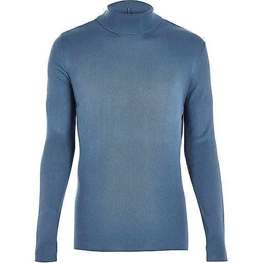 Light blue ribbed roll neck sweater