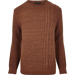 Rust brown cable knit sweater