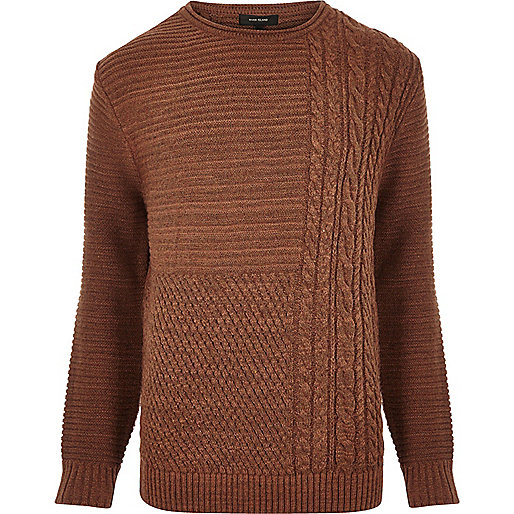 Rust brown cable knit jumper