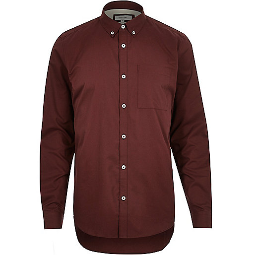 Dark red twill button-down shirt - Shirts - Sale - men