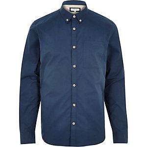 Blue twill button-down shirt